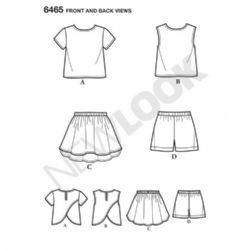 6465 New Look Pattern: Child's Easy Top, Skirt and Shorts